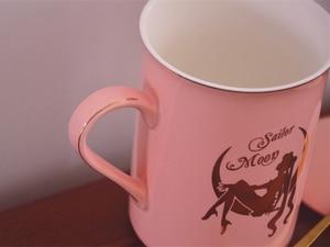 Image 5 - Anime Sailor Moon Pink Bone China Coffee Mug Tsukino Usagi Ceramic Mugs Cup Set Cup with Cover and Spoon Girls Christmas Gift