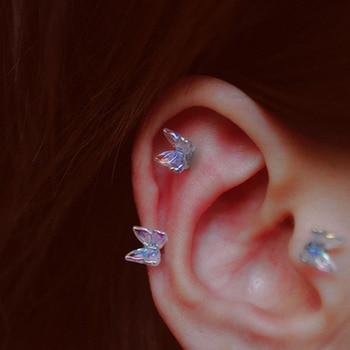 1Pcs INS Little Butterfly Stud Tragus Earring For Women Acrylic Rainbow Titanium Steel Screw Piercing Mid Low Helix Earring 1
