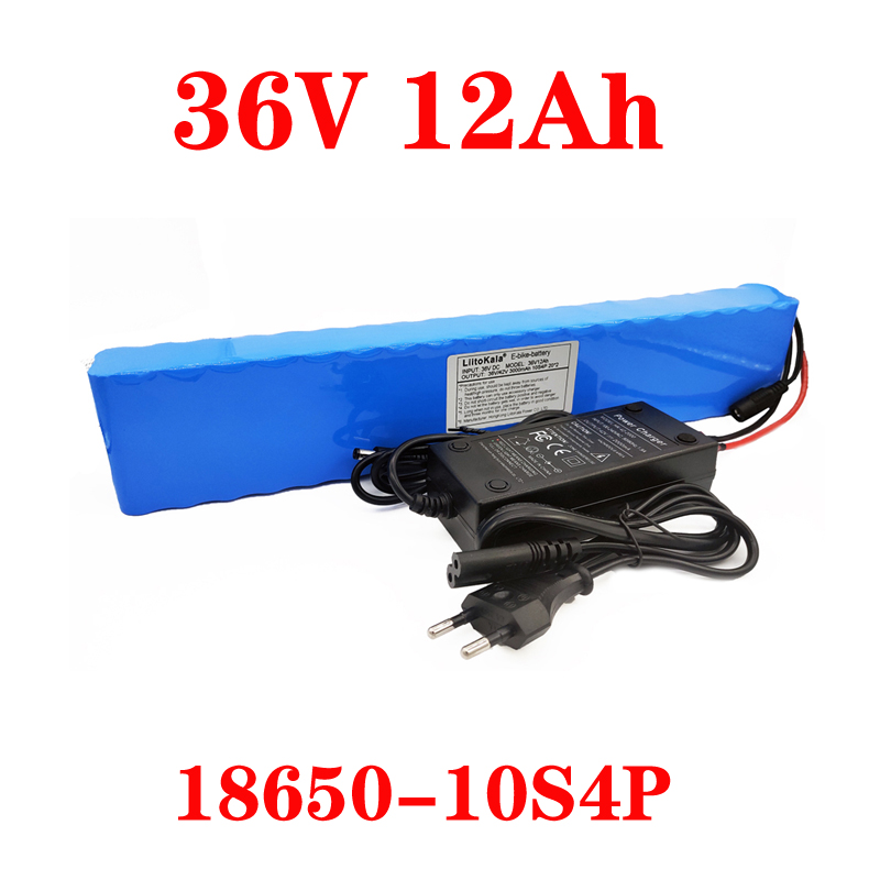LiitoKala 36V 12AH Electric Bike Battery Built In 20A BMS Lithium Battery Pack 36 Volt With 2A Charge Ebike Battery