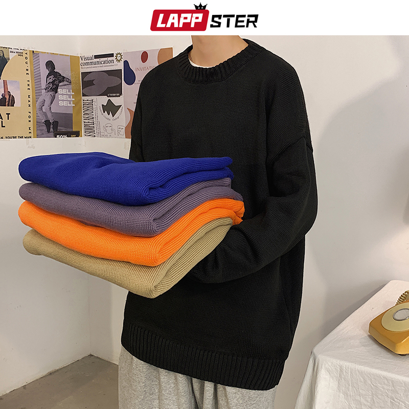 LAPPSTER Men Solid Streetwear Winter Knitted Sweater 2020 Pullover Mens Korean Harajuku Sweater Oversized Casual Vintage Coat