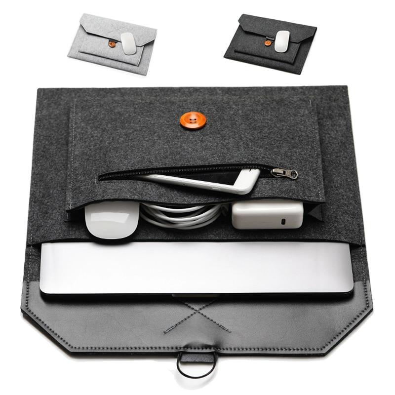 Fashion Wool Felt Laptop Sleeve Bag Notebook Handbag Case For Macbook Air Pro Retina 11 12 13 15 Lenovo Asus HP Laptop Liner Bag