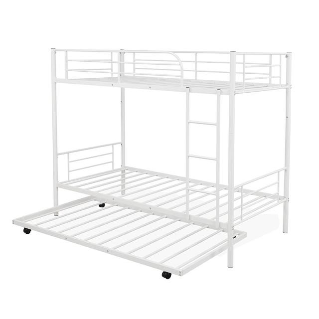 White Metal Twin Over Twin Loft Bunk Bed  6
