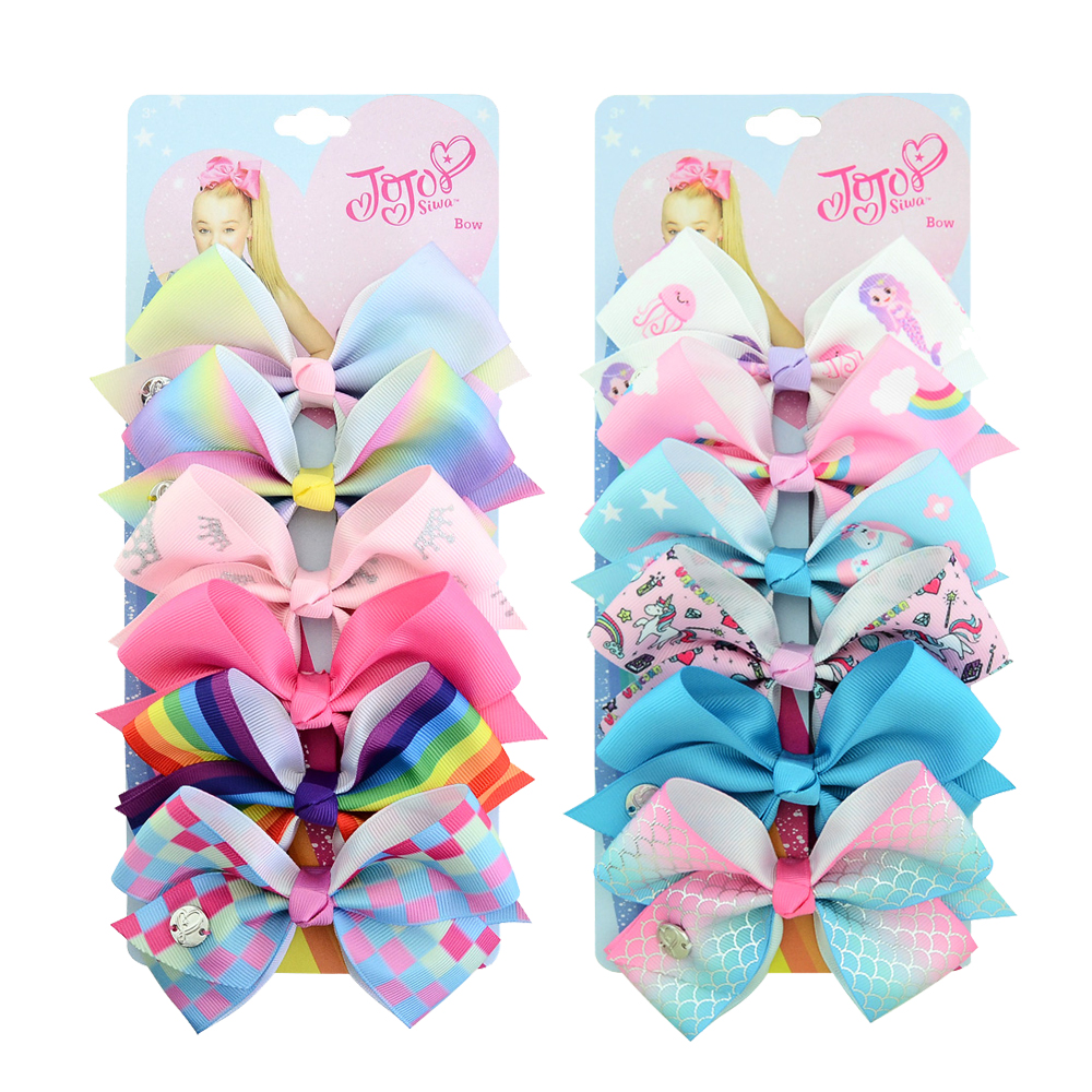 6 Pieces/Set JOJO Siwa Hair Bows Printed Unicorn JOJO Clip Handmade Hair Bow With Clip Hairgrips Hair Accessories