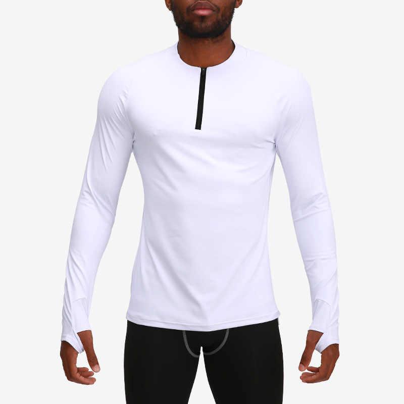 Kuru Fit sıkıştırma gömlek erkekler döküntü bekçi spor uzun kollu koşu gömlek erkekler spor T Shirt futbol forması spor spor sıkı