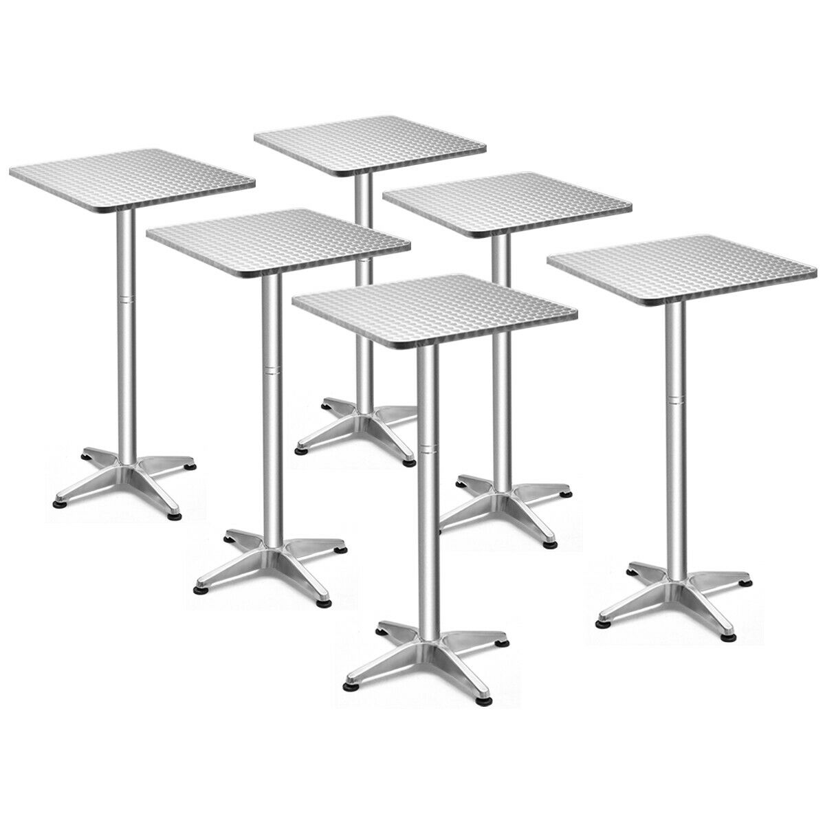 Costway Set Of 6 Folding 23.5'' Aluminium Square Bar Table 2 Height Bistro W/ Base