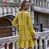 Women Solid Color A-Line Dress Patchwork Design Lace Ruffles Decor O-Neck Long Sleeve High Waist Slim Spring Autumn Mini Dress 6