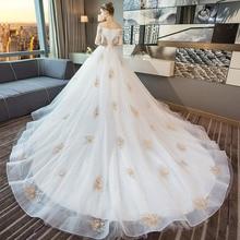 Tapete Cozinha/платье со звездами; Новинка 2020 года; Свадебное платье принцессы в Корейском стиле со шлейфом; Роскошное платье на плечо с тонким принтом Хепберн