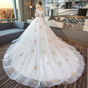 Image 1 - Tapete Cozinha/платье со звездами; Новинка 2020 года; Свадебное платье принцессы в Корейском стиле со шлейфом; Роскошное платье на плечо с тонким принтом Хепберн