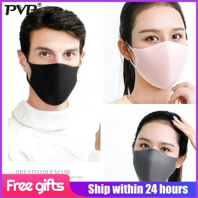 PVP 3Pcs Black Bilayer Sponge Mouth Mask Anti Haze Dust Washable Reusable Double Layer Dustproof Mouth-muffle Wind Proof  Mask