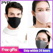 PVP 3Pcs Máscara bucal de esponja bicapa negra anti neblina Polvo lavable