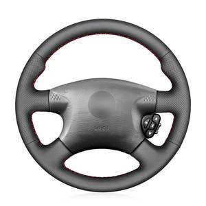 Image 1 - Capa de volante do carro de couro sintético do plutônio preto costurado à mão para nissan almera (n16) x trail (t30) terrano 2 almera tino