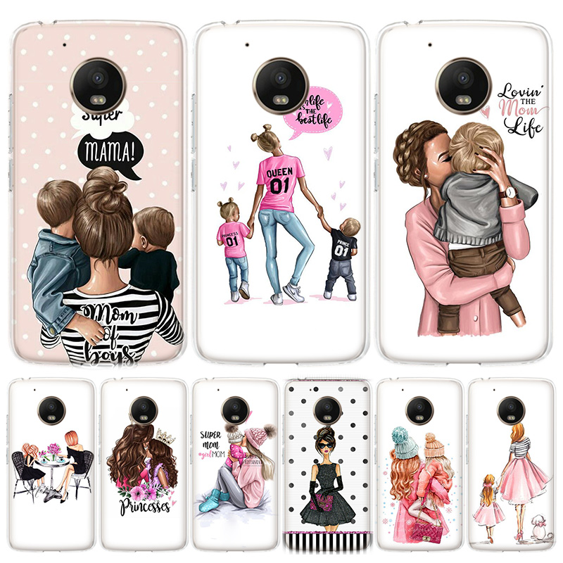 Fashion Black Brown Hair Baby Mom Girl Queen Phone Case For MOTO Motorola G8 E4 E5 E6 G7 G6 G5S Plus Play Power ONE Action Cover