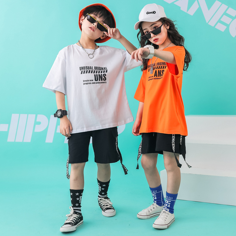 Kids Dance Clothes Ballroom T Shirt Pants Jazz Hip Hop Costumes For Girls Boys Dancing Competition Costumes Show Stage Outfits