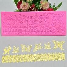 Tapis en Silicone avec motifs papillons en dentelle, pour décoration de gâteaux, moule à Fondant, Mousse, cuisine, DIY, ustensiles de cuisson