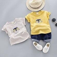 Футболка летняя детская одежда с короткими рукавами ковбойские шорты с изображением кошачьих глаз комплект из 2 предметов для детей 0-4 лет