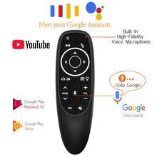 G10s pro backlit ar mouse giroscópio pesquisa de voz 2.4g controle remoto inteligente sem fio com microfone para android caixa tv h96 max