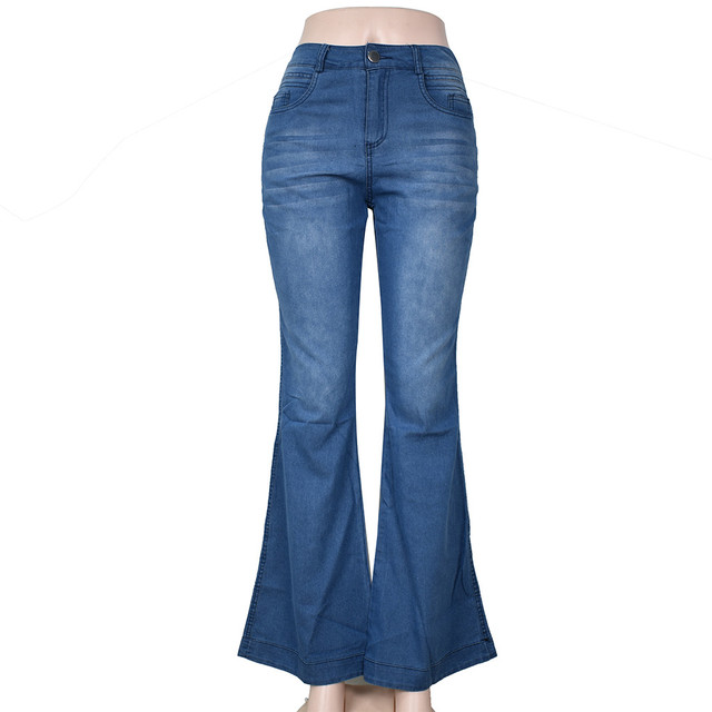 Womens Sexy Large size Wide Leg Jeans For Women Mom Flare Pants With Hight Waisted Stretch Denim Button Female 2021 New #S Jeans 5