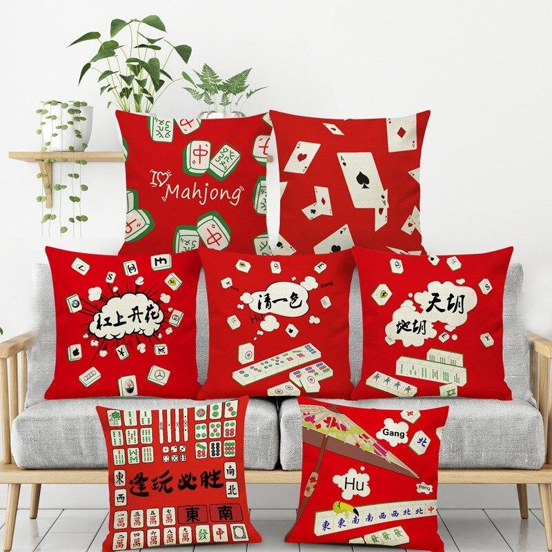 Happy New Year Mahjong Pillow Red Festiva Seat Cushions