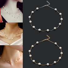 2020 Fashion Charm Jewelry Pendant Chain Faux Pearl Choker Short Necklace Statement Neck Chain Jewelry retro women s exaggeration mixing crystal ball necklace pearl turquoises short clavicle chain statement choker necklace jewelry