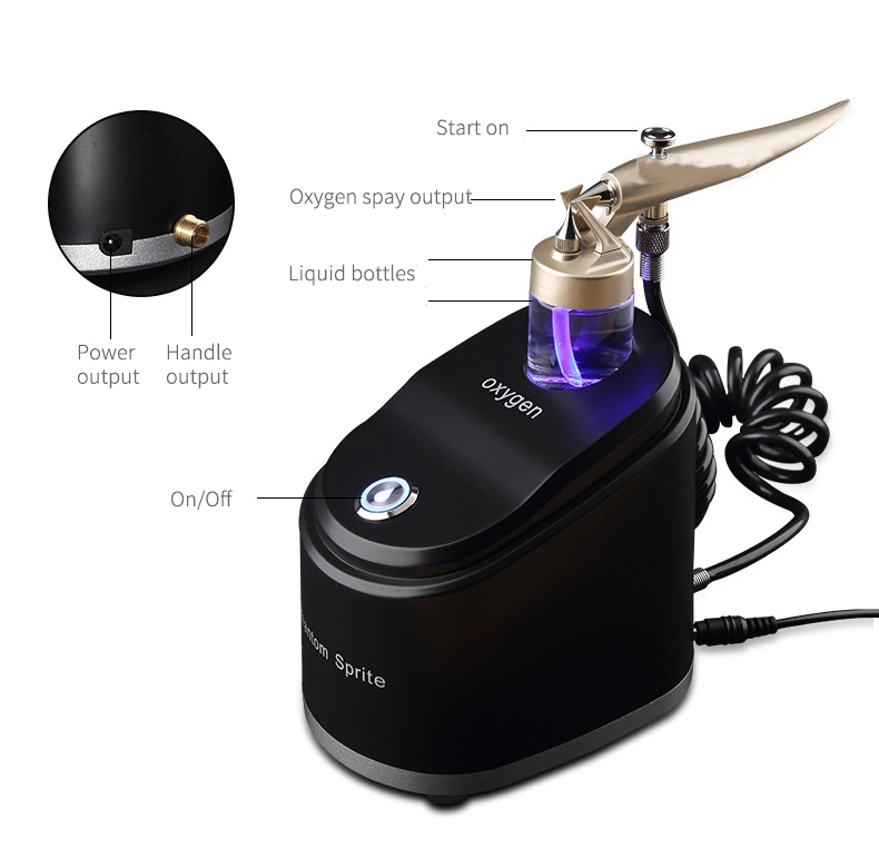 2019 New Portable Oxygen Facial Spray Gun Skin Whitening Water Oxygen Jet Peel Machine