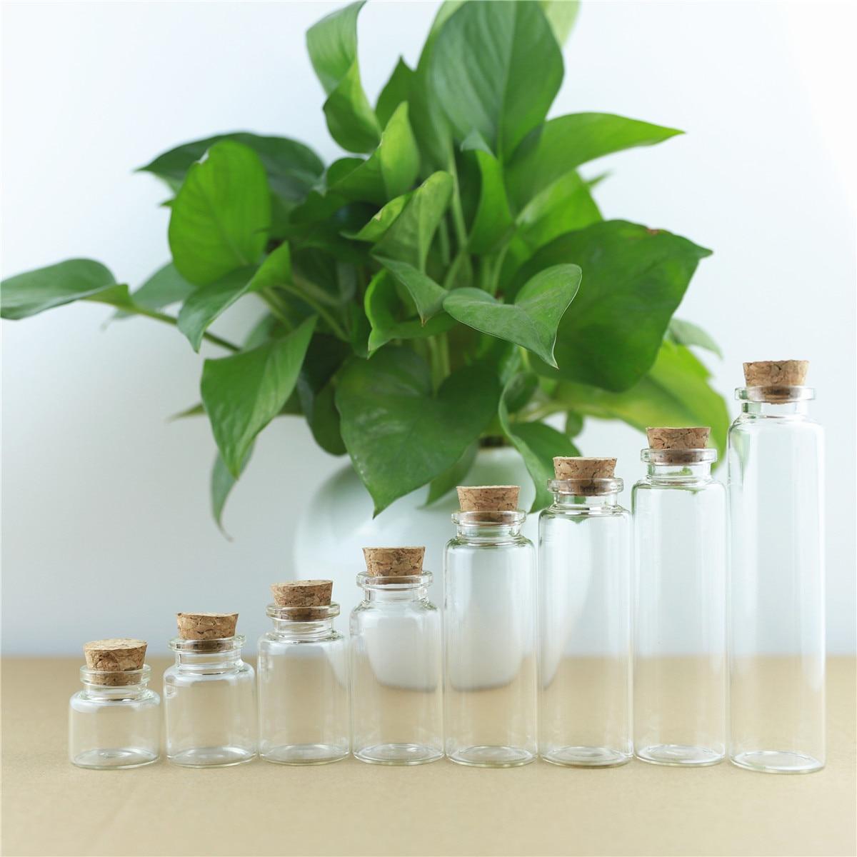 50pcs/lot 30mm 10-60ml Cork Glass Bottles Borosilicate Heat-resistant Wishing Bottle Glass Jars Travel Storage Wedding Container