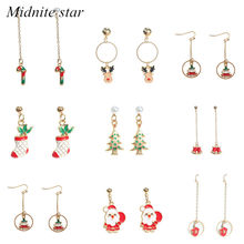 Fashion Temperament Christmas Creative New Long Drop Oil Earrings Simple Small Fresh Reindeer Cane Socks Earrings Trend Jewelry 2019 New Wave(China)