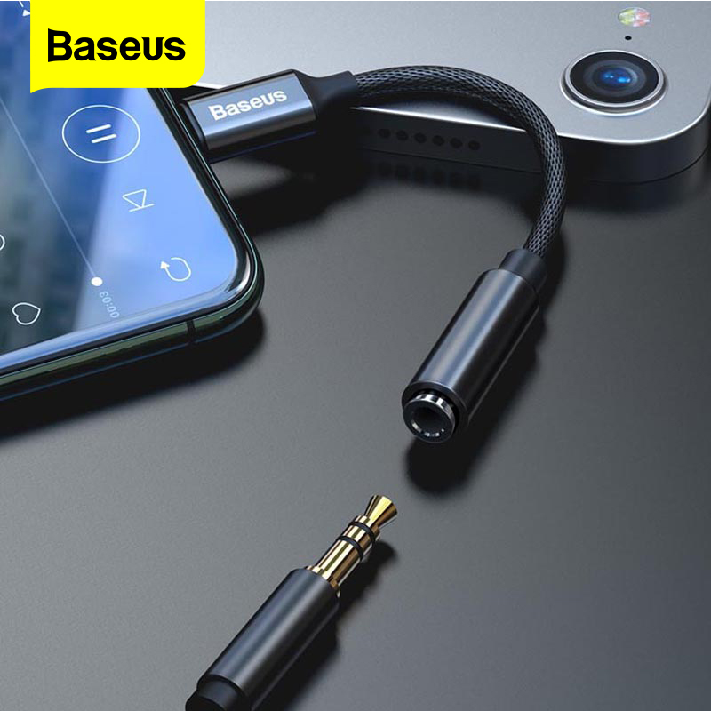 Baseus AUX Audio Adapter Cable For iPhone Lightning to 3.5mm Jack Earphone For iPhone 11 Pro XS Max Xr X 8 7 Plus OTG Converter|Phone Adapters & Converters| |  - title=