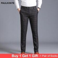 Fashion Men Pants Business Casual High-grade Straight Plaid Mens Suit Dress Classic Trousers Slastic Slim