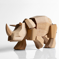 Nordic Decorative Wooden Rhinoceros Nice Nature Beech Ornaments Fashion Home Decoration Wood Crafts and Gifts