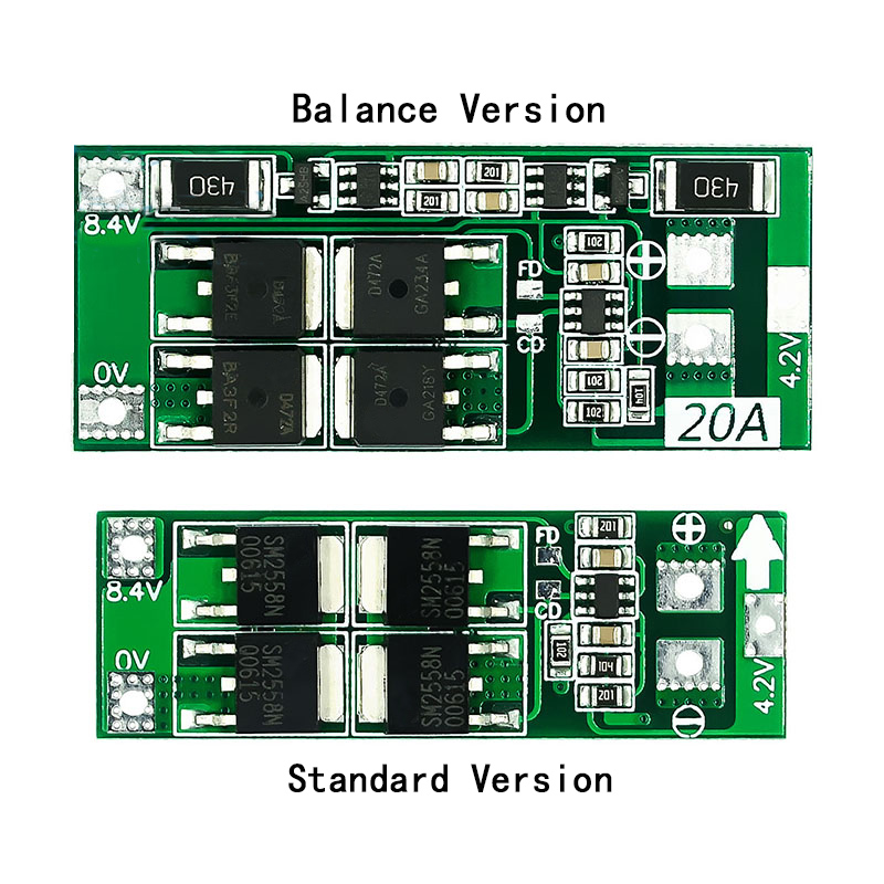 <font><b>2S</b></font> <font><b>20A</b></font> <font><b>7.4V</b></font> 8.4V 18650 Lithium battery protection board/BMS board standard/balance image