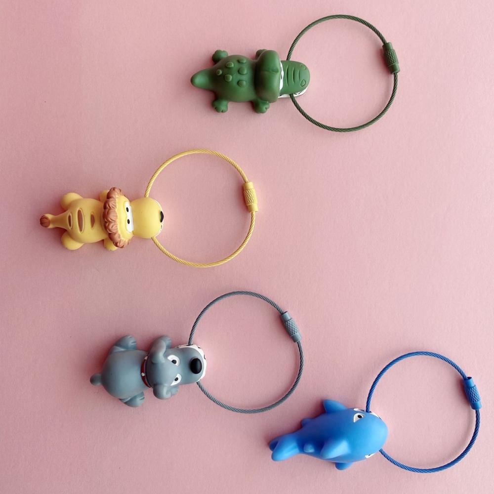 Cute Resin Animal Colorful Key Ring Keychain Lion Dog Shark Crocodile Pendant Backpack Bag Charms Cartoon Key Chain Jewelry Gift