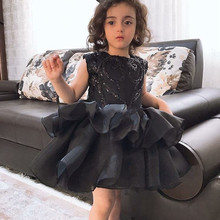 New Black Puffy Skirt Girls Dresses Sequined Princess Birthday Party Dress Children Christmas Prom New Year Clothes 1-14Y