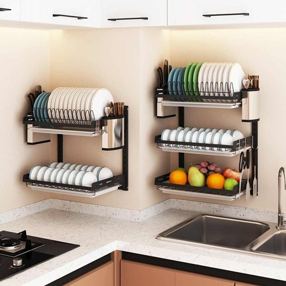 New 304 Stainless Steel Kitchen Bowl Rack Tableware Cup Drainer Dish Drying Rack Kitchen Wall-mounted Storage Rack Storage Box