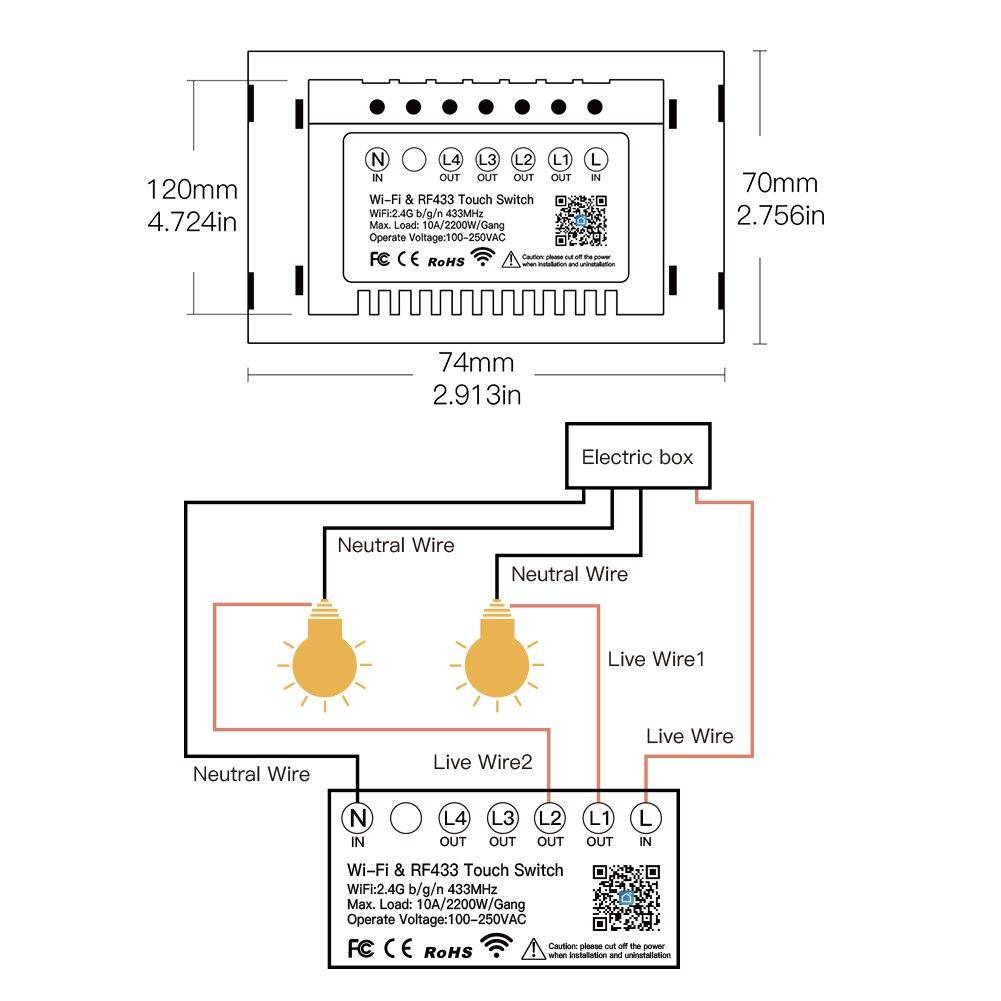 Купить с кэшбэком Smart Glass Panel Switch Smart Life/Tuya App Multi-Control Association, Voice Control with Alexa,Google Home,1/2/3 Gang