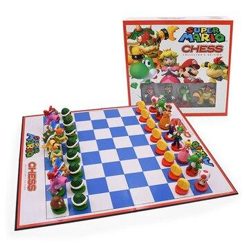 32 pcs Super Mario Chess Set Luigi Chessboard Figure Sets Checkers Travel Games Board Entertainment Christmas