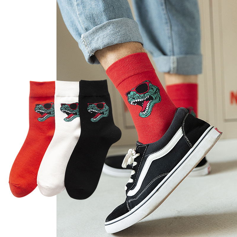 2020 New Happy Mens Socks Women Crocodile Embroidery Novelty Sock Combed Cotton Funny Socks Men's Big Size Breathable Socking