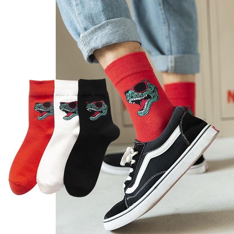 2020 New Happy Mens Socks Women Crocodile Embroidery Novelty Sock Combed Cotton Funny Socks Men's Big Size Breathable Socking