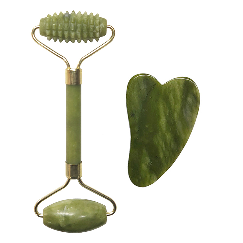 Natural Jade Roller Facial Massage Tool Double Head Gua Sha Massage Tool Beauty Face Lift Health Skin Care Board Thin Body Tools