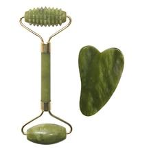 Natural Jade Roller Facial Massage Tool Double Head Gua Sha Massage Tool Beauty