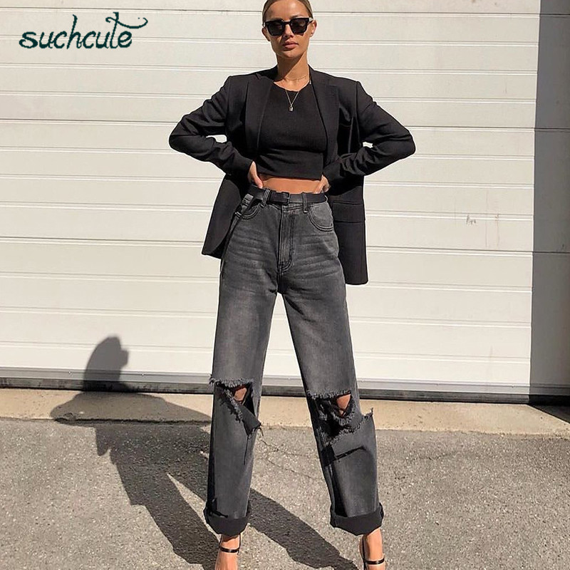 SUCHCUTE Hole Jeans Women Wide Leg Denim Pants Plus Size Punk Korean Style Trouser Casual Korean Style Harajuku Female Joggers