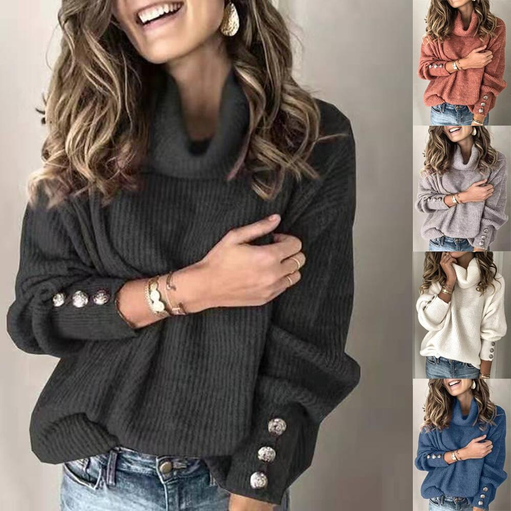 Spring Long Sleeve Sweaters Women Casual Turtleneck White Knitted Pullover Plus Size Loose Women Clothes Knitwear Women Tops