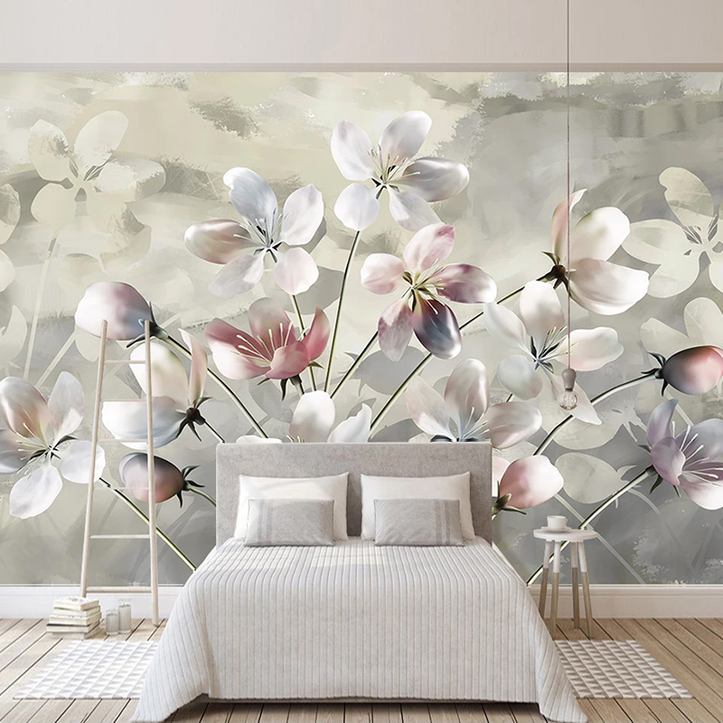 Custom Wall Mural Hand Painted Watercolor Oil Painting Floral Modern Bedroom Living Room Sofa Wall Decoration Photo Wallpaper