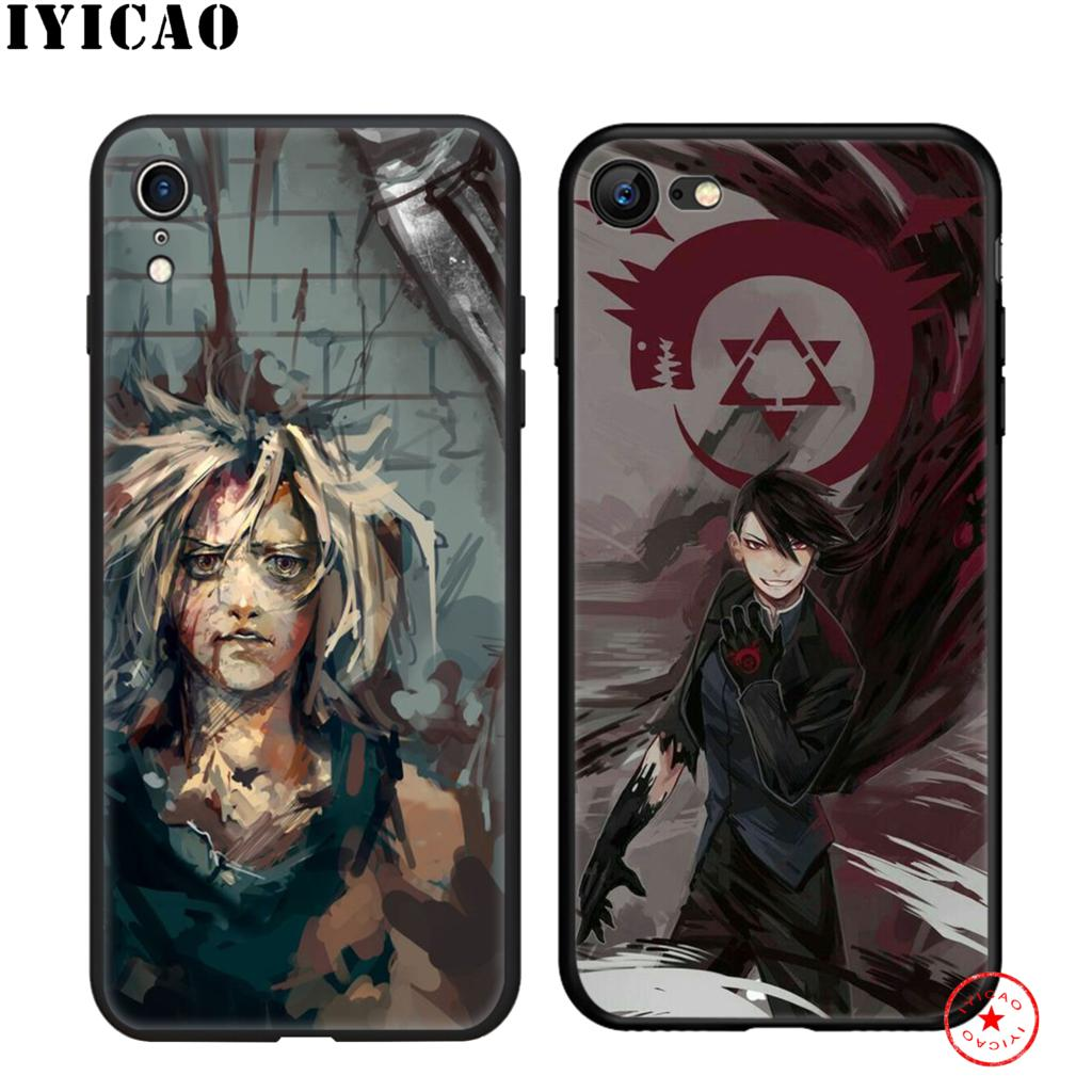 IYICAO Fullmetal alchemist Anime Soft Black Silicone Case for iPhone 11 Pro Xr Xs Max X or 10 8 7 6 6S Plus 5 5S SE in Fitted Cases from Cellphones Telecommunications
