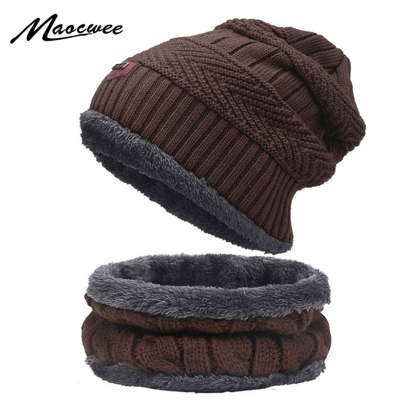 Warmer Knitted Beanies Hat Scarf Set For Women Men Winter Outdoor Beanies Hat With Lining Thick Warm Knited Caps Skullies Bonnet