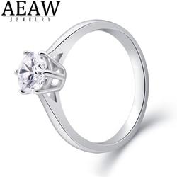Bague Halo Moissanite de coupe ronde, or blanc 18K AU 6.5, cadeau d'anniversaire de mariage pour femmes, 1 ct, 750mm