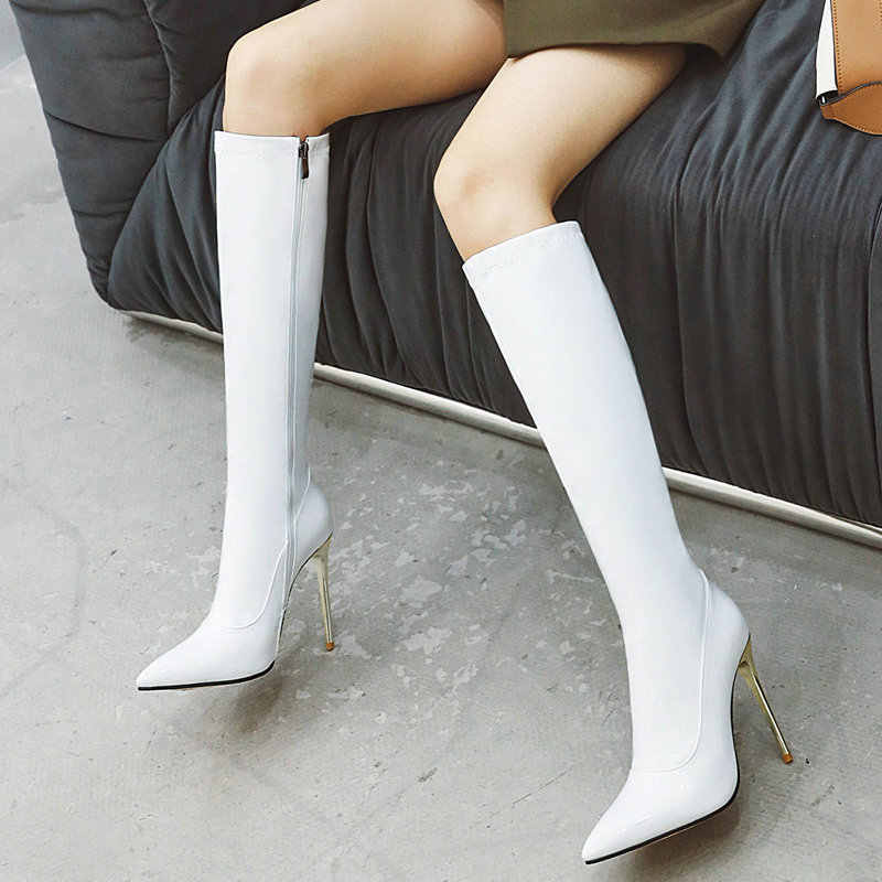 2019 Autumn Women Boots Super High Heel Knee High Boots Fashion Patent Leather Long Boots Pointed Toe Zipper Winter Woman Boots