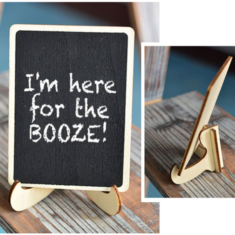 10Pcs Rectangle Wooden Mini Blackboard For Wedding Party Decorations Chalkboards Message Board