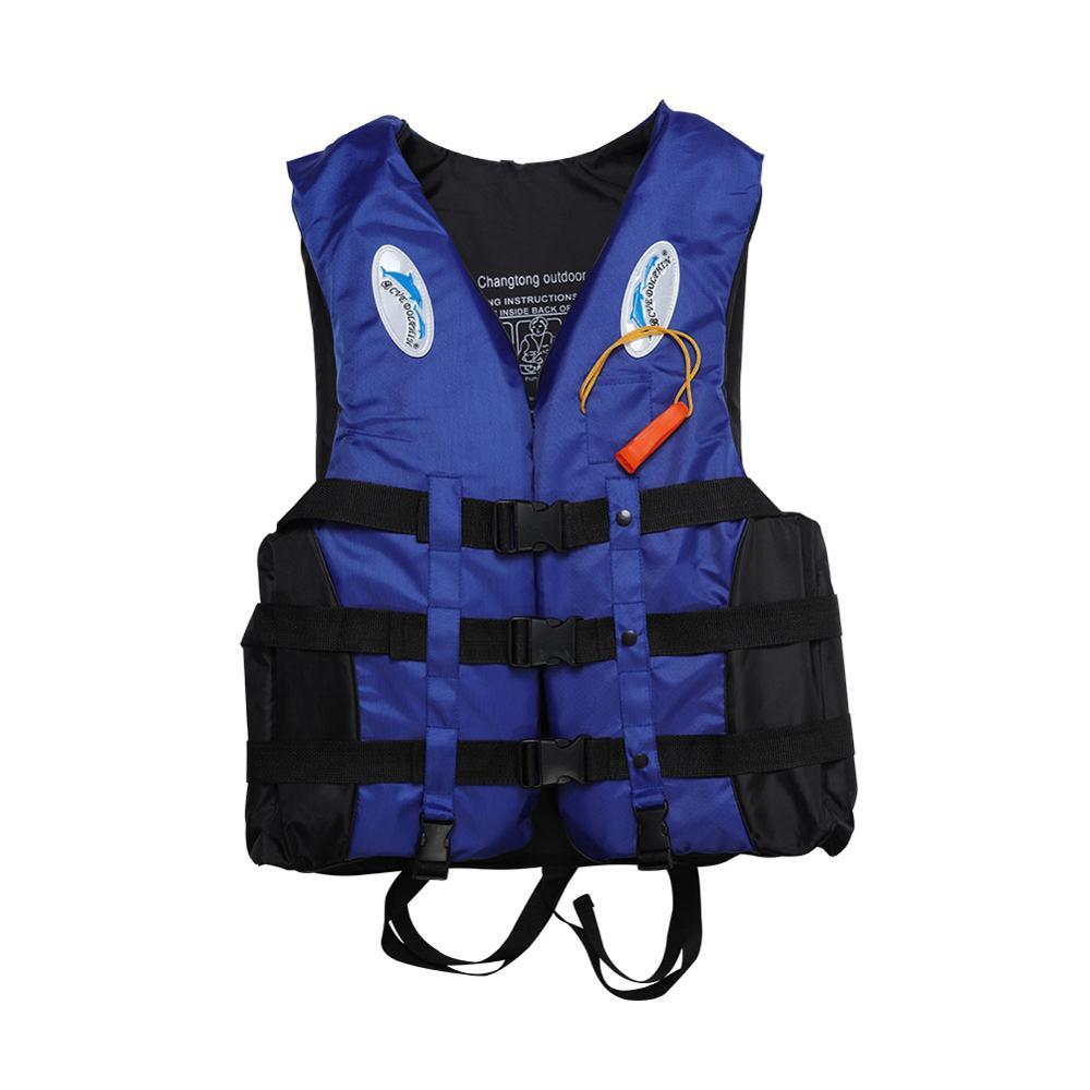 S-3XL Adult Life Jacket Lifesaving Swimming Boating Sailing Vest + Whistle Blue EPE Material