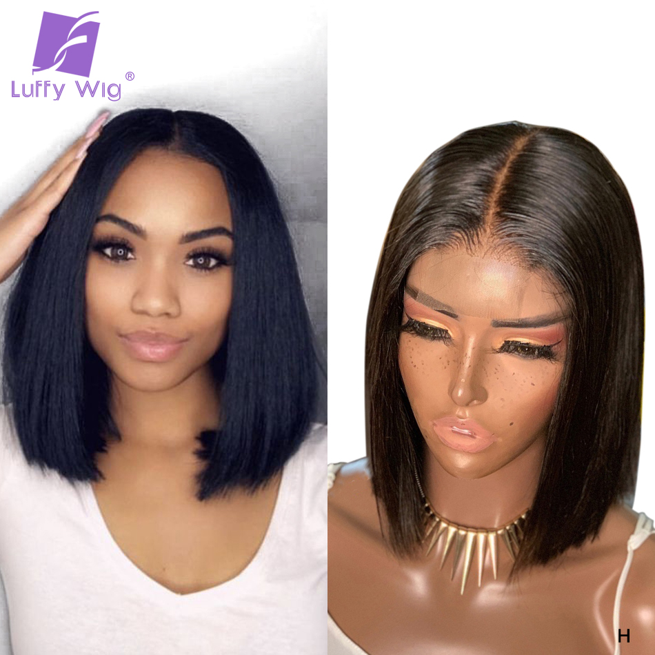 Bob Fake Scalp Human Hair Lace Wigs 180% Short Straight Remy Brazilian 13x6 Lace Front Wig Glueless PrePlucked For Women LUFFY