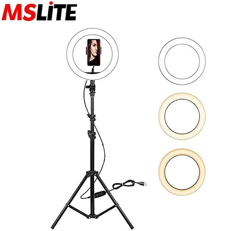 "10"" LED Selfie Ring Light, Dimmable LED Ring Light With Tripod Stand & Cell Phone Holder, LED Fill Light Desktop Beauty Lamp"